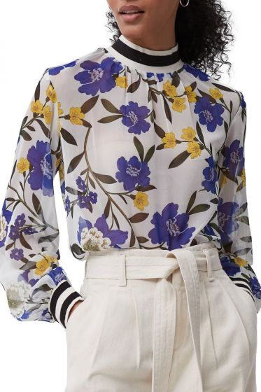 French Connection Eloise White Floral Sheer Top