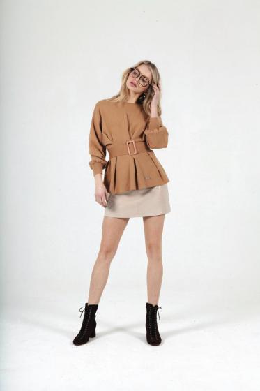 Jovonna London Tan Tino Belted Sweater