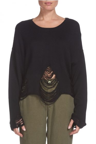 SEN London Distressed Crop Sweater