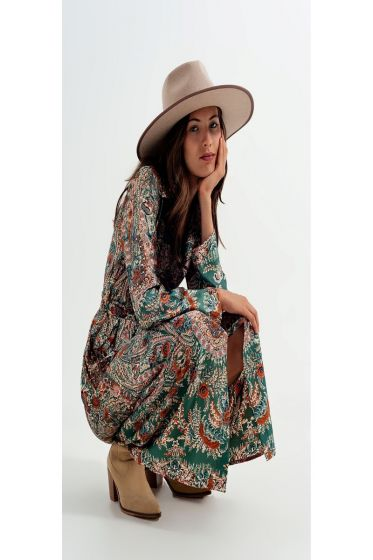 Q2 Floral Print Satin Maxi Shirt Dress