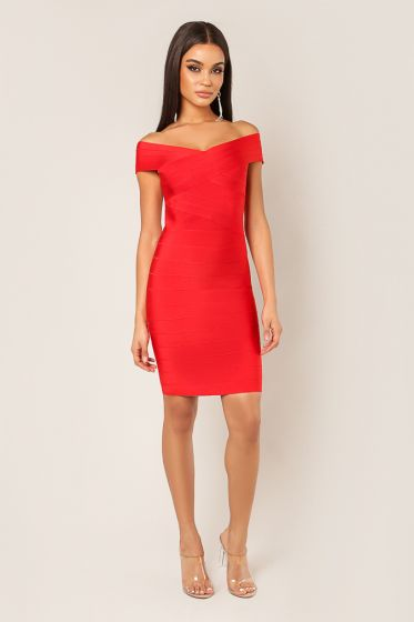 WOW Couture Off the Shoulder Red Bandage Dress