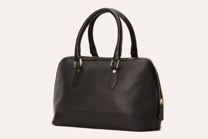 Kiko Black Pebble Leather Satchel Bag